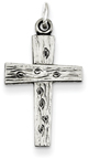 Sterling Silver Rustic Wooden-Style Cross Pendant