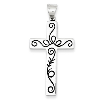 Black Paisley Scrollwork Design Sterling Silver Cross Pendant