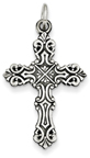 Baroque-Style Scrollwork Cross Necklace, Sterling Silver