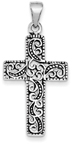 Scrollwork Design Sterling Silver Cross Pendant