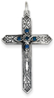 September Birthstone Cross Pendant, Sterling Silver