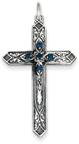 September Birthstone Cross Pendant, Sterling Silver