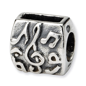 .925 Sterling Silver Treble Clef & Notes Bead