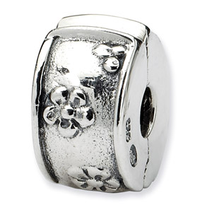 .925 Sterling Silver Floral Hinged Clip Bead