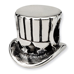 .925 Sterling Silver Uncle Sam Tophat Bead