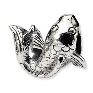 .925 Sterling Silver Fish Bead