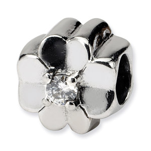 Sterling Silver Clover Bead with CZ Accent
