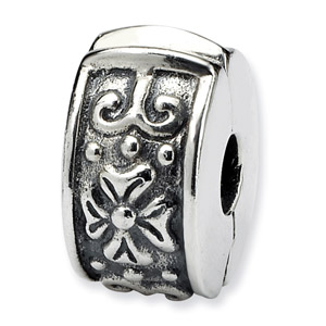 .925 Sterling Silver Hinged Floral Clip Bead