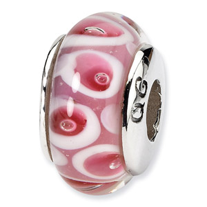 Pink and Red Murano Glass and .925 Sterling Silver Bead