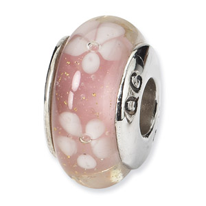 Sterling Silver Pink & White Floral Hand-blown Glass Bead