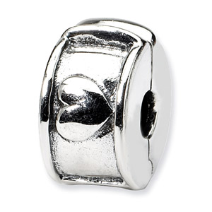 .925 Sterling Silver Hinged Heart Clip Bead
