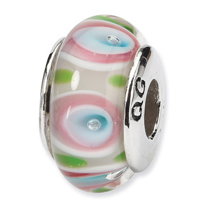 Pastel Hand Blown Glass and .925 Sterling Silver Bead
