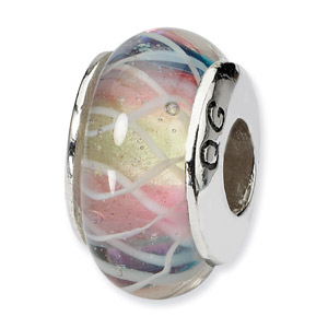Multi-Colored Hand Blown Glass and .925 Sterling Silver Bead