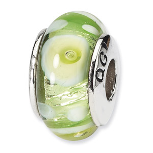 Sterling Silver Green & White Hand-blown Glass Bead
