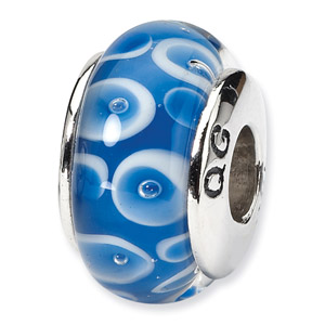 Sterling Silver Blue & White Hand-blown Glass Bead
