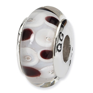 Black and White Polka Dot Hand blown Glass and .925 Sterling Silver Bead