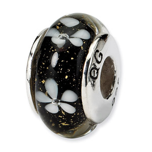 Black Floral Murano Glass and .925 Sterling Silver Bead