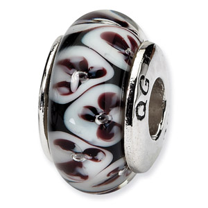 Sterling Silver Black Floral Hand-blown Glass Bead