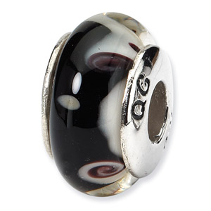 Black and White Swirl Hand Blown Glass and .925 Sterling Silver Bead