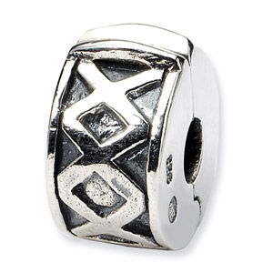 .925 Sterling Silver Hinged X Clip Bead