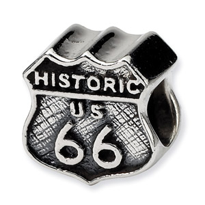.925 Sterling Silver Route 66 Bead