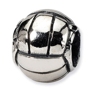 .925 Sterling Silver Volleyball Bead