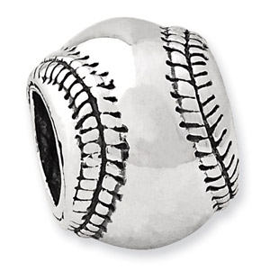 .925 Sterling Silver Baseball Bead