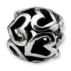 .925 Sterling Silver Heart Bead