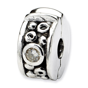 .925 Sterling Silver Dots Hinged Clip Bead with CZ Accent