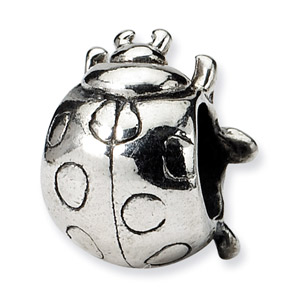 .925 Sterling Silver Ladybug Bead