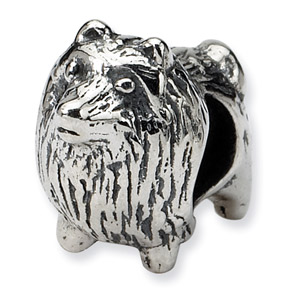 .925 Sterling Silver Pomeranian Bead
