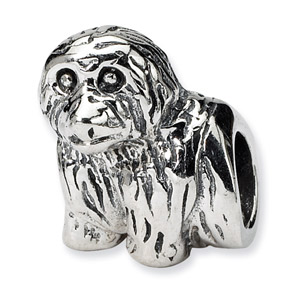 .925 Sterling Silver Dog Bead