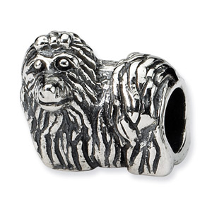 .925 Sterling Silver Yorkshire Terrier Bead