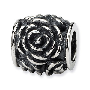 .925 Sterling Silver Rose Bali Bead