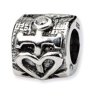 .925 Sterling Silver Heart and Anchor CZ Bead