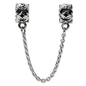 .925 Sterling Silver Security Chain Floral Bead