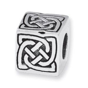.925 Sterling Silver Celtic Block Bead