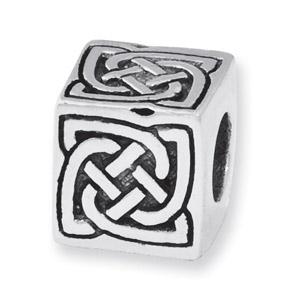 .925 Sterling Silver Celtic Block Bead