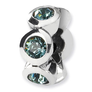 Swarovski December Crystal Birthstone Bead, Sterling Silver