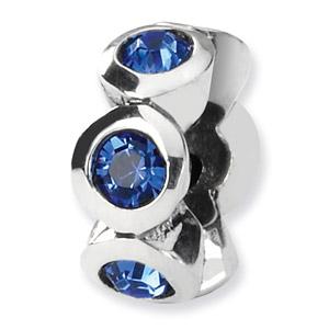 Swarovski September Crystal Birthstone Bead, Sterling Silver