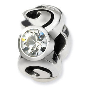 Sterling Silver April Swarovski Crystal Birthstone Bead