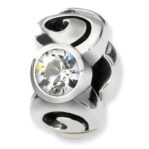 Sterling Silver April Swarovski Crystal Birthstone Bead