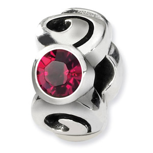 Swarovski Crystal Bead, Sterling Silver, July
