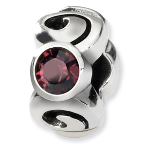 Swarovski Crystal Bead, Sterling Silver, June