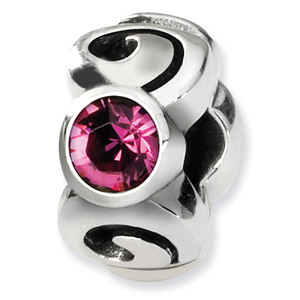 Swarovski Crystal Bead, Sterling Silver, October