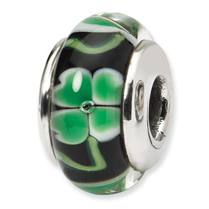 Green Clover on Black Hand Blown Glass and .925 Sterling Silver Bead