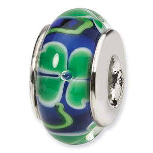 Green Clovers on Blue Hand Blown Glass and .925 Sterling Silver Bead