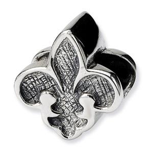 .925 Sterling Silver Flue de Lis Bead