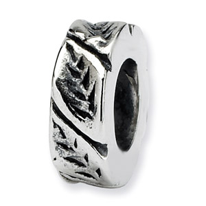 Sterling Silver Leaf Design Spacer Bead