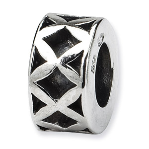 .925 Sterling Silver X Spacer Bead